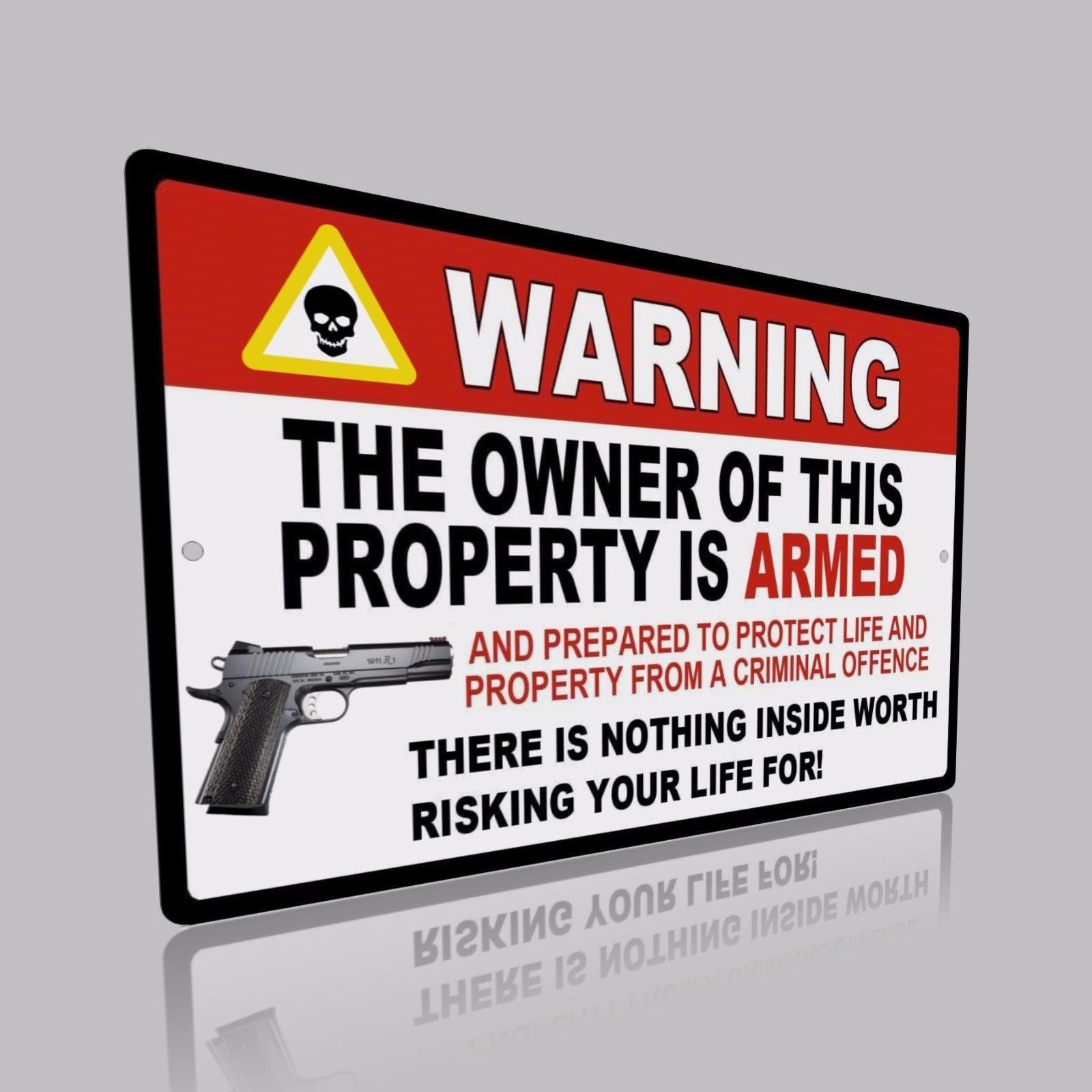 "2 Lot Gun Pistol Warning Home Business Security Sign Aluminum 8"" x 12"" New"