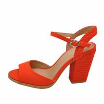 Qupid LOST 55AX Blood Orange Women's Open Toe Braided Block Heels - $38.95