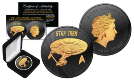 STAR TREK 2016 Tuvalu 1 oz Pure Silver Coin BLACK RUTHENIUM & 24KT Gold ... - $74.76