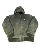 CARHARTT J25 Moss Duck Active Heavy Thermal lined Zip Coat Hood Matt Wor... - $51.48