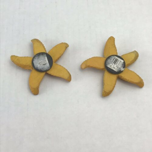 StarFish Refrigerator Magnets Set Of 2 Resin Yellow
