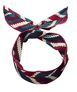 Womens Boho Bowknot Headband Self Tie Twist Chiffon Hair Band - Green Red - $20.50