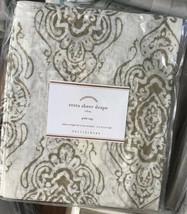 Pottery Barn Set 2 Reeta Drape Flax 50x84 Pole Curtain Sheer Block Print... - $158.00
