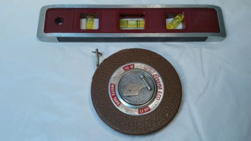 Evans Co 50 Foot White Tape Johnson Level Tool Torpedo Level Usa Vguc Bo