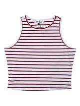 PERSUN Womens Summer Basic Red Striped Cut Away Crop Tank Top,Medium - $13.95