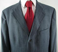 "Blue Chalk Stripe "" RALPH LAUREN "" 100% Wool 44 R 3 Button Jacket Coat - $18.36"