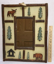 Picture Frame Mirror Moose Bear Pine Tree Wood Cabin 19x15 Country Camp ... - $28.70