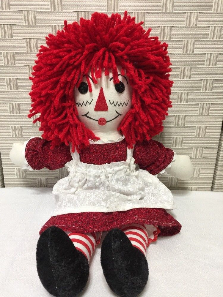 "Raggedy Ann Rag Doll Handmade Cloth 18"" Yarn Hair Button Felt Face Dress Apron"