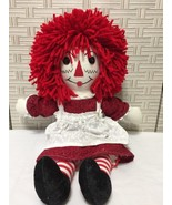 "Raggedy Ann Rag Doll Handmade Cloth 18"" Yarn Hair Button Felt Face Dress Apron - $14.01"