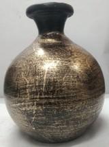 ethnic design vintage home decor gold painted handmade vase clay made va... - $24.75