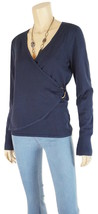 CHARTER CLUB Blue Long Sleeve Faux Wrap Knit Top w/Buckle Hardware Large - $6.22