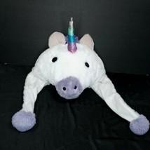 Girls Plush White Unicorn Purple Fleece Lined Warm Winter Beanie Hat Ear... - $13.85