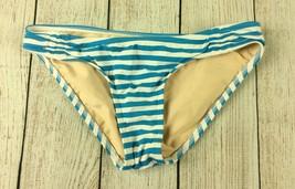 Lands End Womens Bikini Bottom 4 Teal Blue White Striped Swimsuit Hipster - $4.94