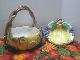 2 Pieces Fitz & Floyd Ceramic Fall Decor Basket & Dish 1993 - $31.68