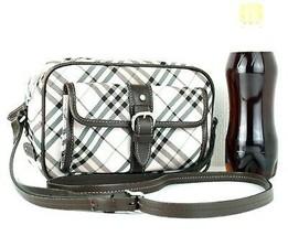 Burberry London Blue Label Pink Nova Check Nylon & Leather Shoulder Bag Good - $147.51