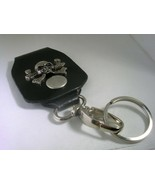 SKULL & BONES LEATHER KEY CHAIN WITH A HIGH POLISHED FINISH IN STAINLESS... - $18.66