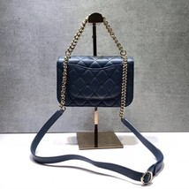AUTHENTIC CHANEL BLUE QUILTED CAVIAR LEATHER 2 WAY TOP HANDLE MESSENGER BAG GHW image 6