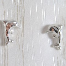 White Gold Earrings 750 18k Stud with Dolphin Hammered, Length 9 MM image 2