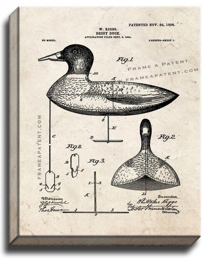 Primary image for Decoy Duck Patent Print Old Look on Canvas
