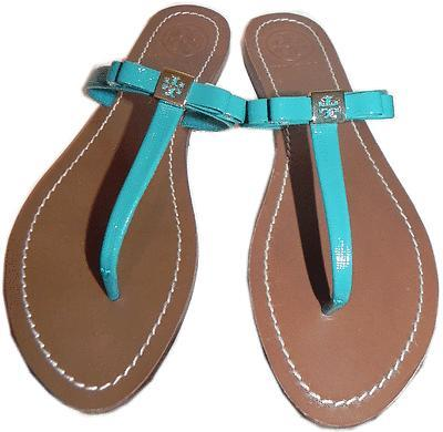 Tory Burch 'leighanne' Thong Sandal Turquoise Bow Shoe Flip Flop Flat Shoe 8- 38