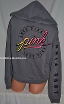 Victoria's Secret Love PINK Cropped Hoodie Sweatshirt Logo Ombre Grey Bl... - $64.89