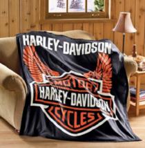 Harley Davidson Motorcycle Fleece Throw Blanket - $48.93 CAD