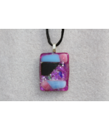 Handmade Casual Coloured Fused Glass Pendant Necklace + Cord & Extension... - $11.99