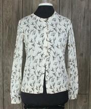 Ann Taylor Loft Cardigan Sweater M size Ivory Beige Floral Womens Cotton... - $25.74
