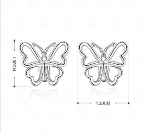 925 Solid Sterling Silver Butterfly Earrings Pierced Very Elegant