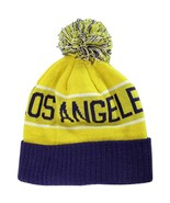 Los Angeles Adult Size Winter Knit Beanie Hats (Gold/Purple) - $12.95