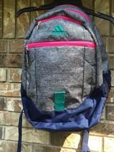 "Adidas Backpack Gray Pink Teal Navy 14""x 18"" Shoulder School Gym Bag Ath... - $22.91"