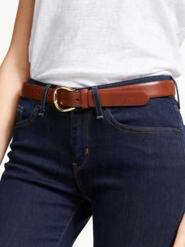 Lauren Ralph Lauren Bennington Leather Belt (Brown/Gold, L)