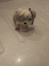 Littlest Pet Shop Purple &White Sheepdog puppy Blue flower eyes , YELLOW... - $2.99