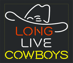 Long Live Cowboys Banner Art Garage Gift Neon S... - $129.00