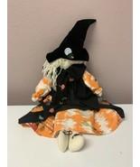 "Vintage Folk Art Halloween Witch Cute Doll Handmade 29"" Decor OOAK - $30.96"