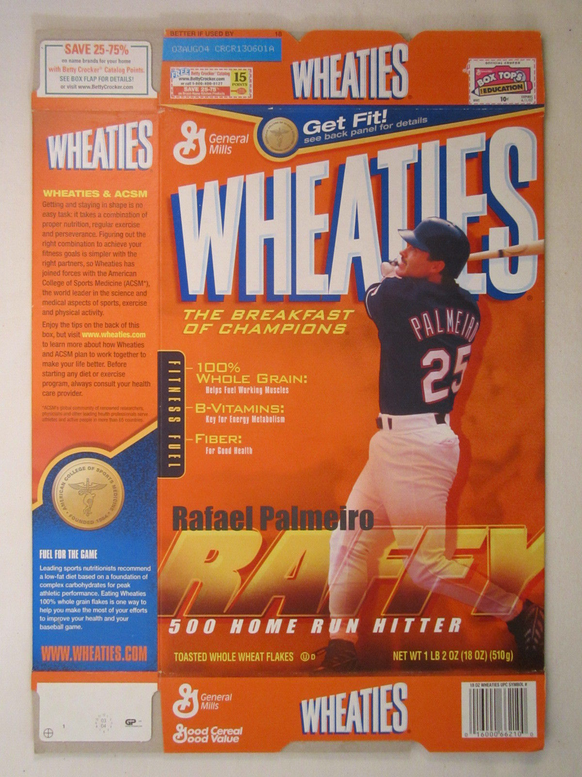 Primary image for Empty WHEATIES Box 2003 18oz RAFAEL PALMEIRO [Z202e8]