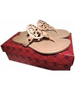 Tory Burch Miller Thongs Beige Leather Sandals Shoes Flip Flops 9 Slides... - $149.00