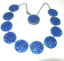 STUNNING ART DECO NOUVEAU BLUE GLASS PIERCED FLORAL CZECH ANTIQUE NECKLACE - $1,295.00