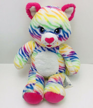 Build A Bear Cat Rainbow Kitty Zebra Stripes RARE Retired Stuffed Animal BABW - $14.85