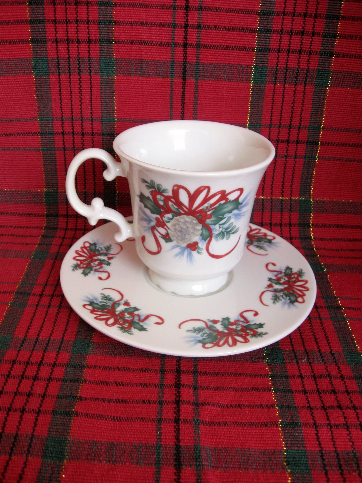 Christmas Holly and Ribbon Cup and Saucer Sets - Six (6) Available