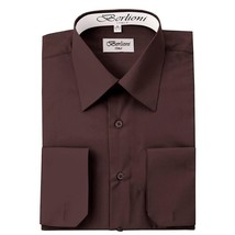 BERLIONI ITALY MEN'S PREMIUM FRENCH CONVERTIBLE CUFF SOLID DRESS SHIRT BROWN