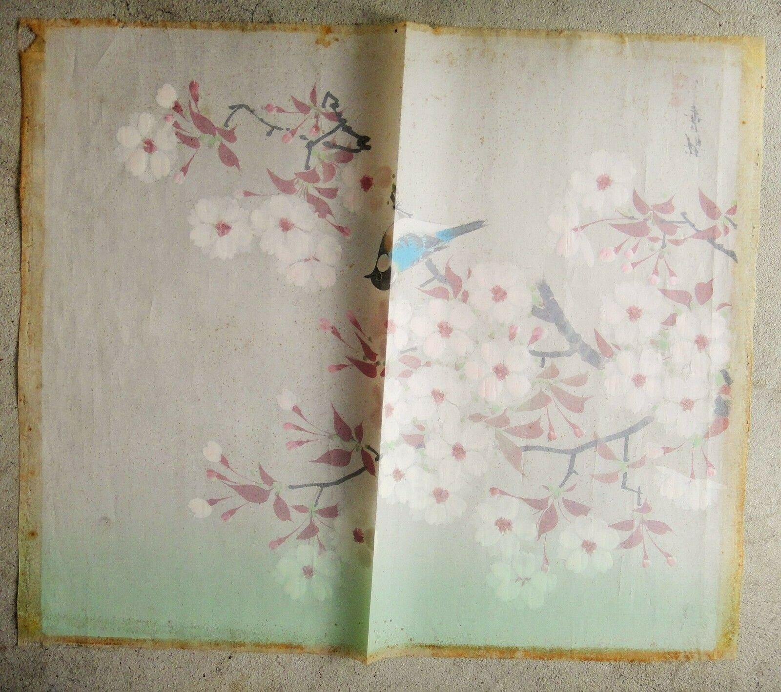 "vintage JAPANES ART SILKSCREEN? PAINTED ART SILK? FABRIC older SIGNED 17.5x14.5"""