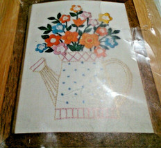 "Watering Can Floral Crewel Kit 5"" x 7"" Caron Hallmark Design Collection  - $19.53"