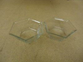 Designer Pair of Bowls Planters 6in W x 6in D x 2 1/2in H Clear Hexagon ... - $18.68
