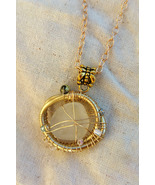 Pacific Delight necklace: white Hawaiian sea glass set in golden wire & ... - $42.00