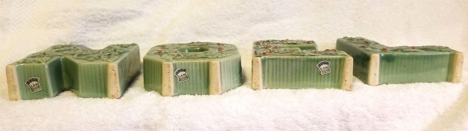 Christmas Mid Century NOEL Candle Holders Green Holly L&M Japan Lipper and Mann