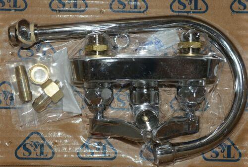 T S B 1146 Workboard Faucet 4 Inch Wall Mount Swivel Gooseneck Lever Handles
