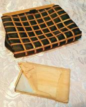 Vintage Black w/ Gold Square Design Evening Clutch Purse W/ Original Mirror image 10