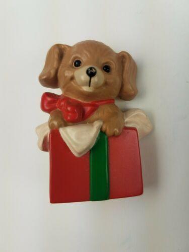 Hallmark 1989  Holiday Christmas Pin Puppy Dog Inside Present Box