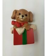 Hallmark 1989  Holiday Christmas Pin Puppy Dog Inside Present Box - $9.65
